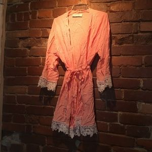 Pink Lace-Trim Robe